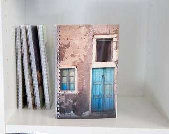 Greek Door Picture Printed on Notebook with Lined Blank Pages
