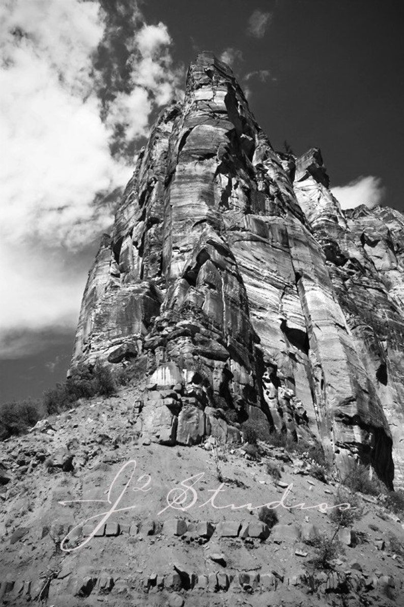 Zion national park photograph black and white photography etsy