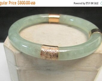 82dcbf51554 On Sale Vintage Estate Mings of Honolulu 14K Hinged Very Translucent Green  Veining Jade Bangle