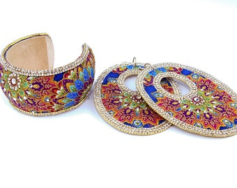 fabric covered earring and bracelet