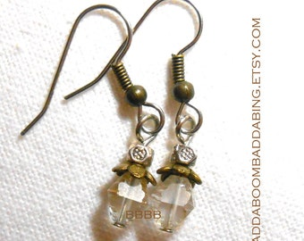 Antique Bronzed Crystal Czech Earrings - Surgical Steel Earwires USA