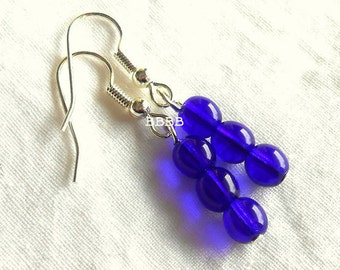 SALE Cobalt Blue Rounded Czech Earrings - Bright Silver Plated Surgical Steel French Hooks USA USA