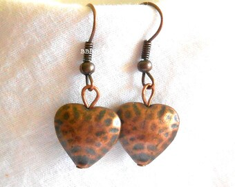 Antiqued Copper Heart Earrings  Hammered Antiqued Dangle Drop Puff Heart USA
