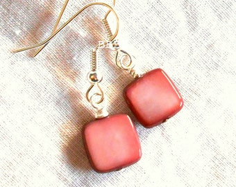 Mother Of Pearl Earrings Mauve Earrings Dark Pink Square Chicklet Bright Silver Earrings Surgical Steel Option USA