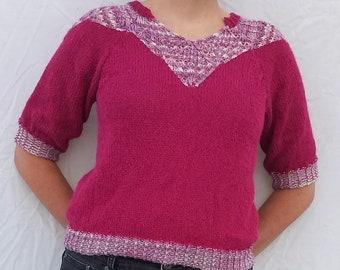Pink on Point - Knitting Pattern - PDF Download - V-Neck Sweater - Lace Knitting - Lace Collar - DIY Fashion