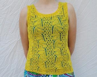 Canary Tango - Knitting Pattern - PDF Download - Lace Tank Top - Summer Knitting - Knit Lace - Lace Knitting - DIY Summer Fashion