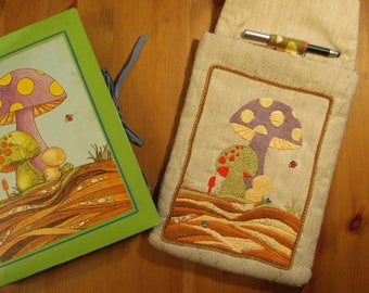 MycoFile - Embroidered Tablet Case - PDF Download - Hand Embroidery Pattern - Sewing Pattern - Mushrooms! - DIY Electronics Case