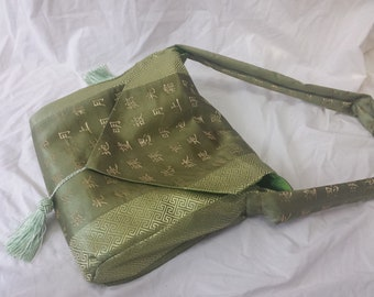 Messenger Bag - Green Satin Chinese Characters - Recycled Table Runner - Book and Laptop Bag - Student Gift