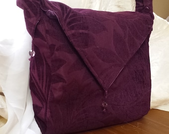 Messenger Bag - Recycled Table Runner - Burgundy Purple Leaves - Damask - Book and Laptop Bag
