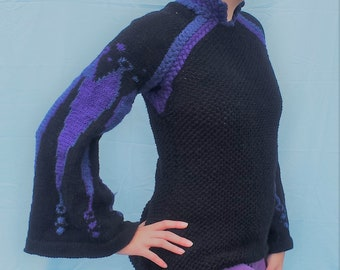 Historical Upgrade - Knitting Pattern - PDF Download - Bell Sleeve Sweater - Winter Knitting - Intarsia - Color Knitting - DIY Fashion