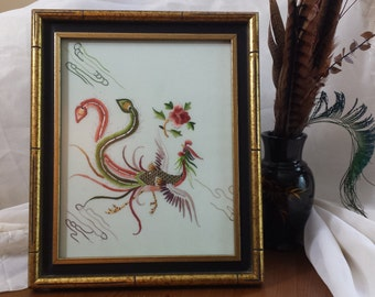Hand Embroidered Pheasant - Framed Embroidered Art - Asian Decor - Chinese Silk Embroidery - Wall Art - Repurposed Vintage Scarf