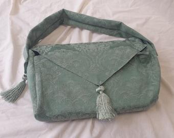 Messenger Bag - Upcycled Table Runner - Aqua Scrolls - Book or Laptop Bag - Shoulder Bag - Turquoise Purse