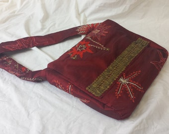 Messenger Bag - Red and Sparkle - Recycled Table Runner - Book and Laptop Bag - Student Gift