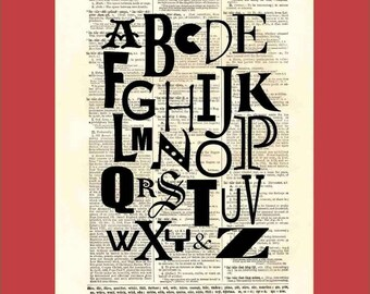 Dictionary Page Print. Typography. Alphabet. All The Letters And An And. Buy 3 Prints, Get 1 More For FREE