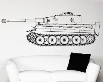 Vinyl Wall Art Decal Sticker German Panzer Tiger Tank 1536s