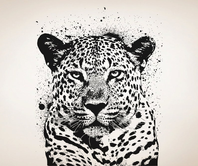 Vinyl Wall Decal Sticker Spray Paint Leopard OSAA652s