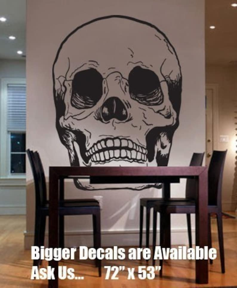 Vinyl Wall Art Decal Sticker Skull Head Bones BIG 72x53   item 127B
