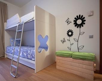 Vinyl Wall Decal Sticker Daisies and Butterflies 1099m