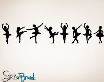 "Vinyl Wall Decal Sticker Little Dancers Children Ballerinas 7""H x 33""W item 816-7x33"