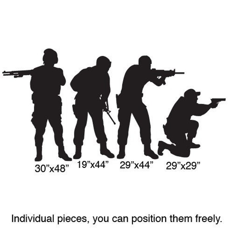 Vinyl Wall Decal Sticker Military Swat Team Army Men #210