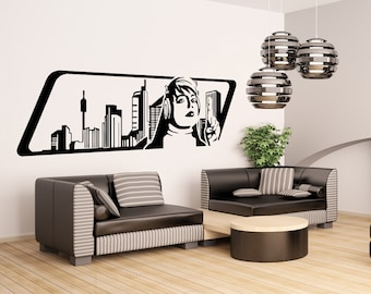 Vinyl Wall Decal Sticker 1970s Inspired Woman Listening to Music OSAA159B
