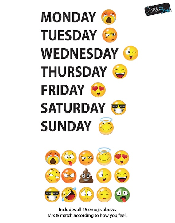 Days Of The Week Emoji Faces Vinyl Wall Decal Sticker 6071