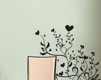 Vinyl Wall Art Decal Sticker Flower Hearts item 501A