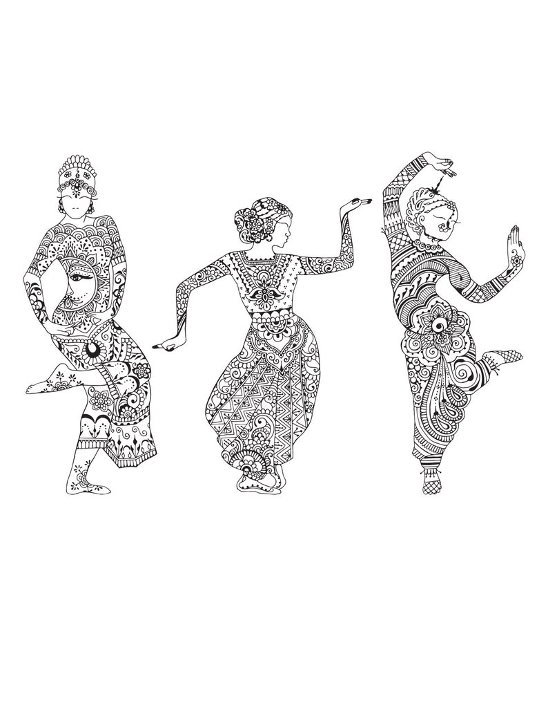 #6085 Set of 3 Large Hanna Tattoo Style Indian Dancer Graphic Wall Decal Stickers