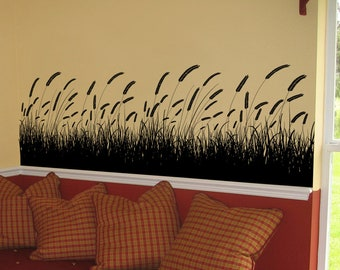 Grass Field Wall Decal. Nature decor for living room, bedroom, bathroom, kitchen decor. 333A
