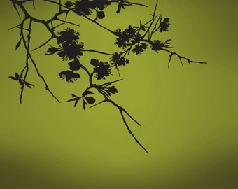 Vinyl Wall Decal Sticker Hanging Flower Branches 754