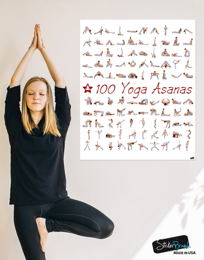100 Yoga Poses Asanas Poster Instructional Graphic Poster For Etsy