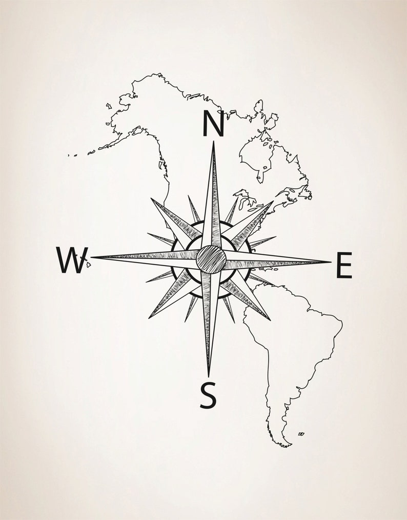 Nautical Map of North /& South America w Compass Vinyl Wall Decal #6018