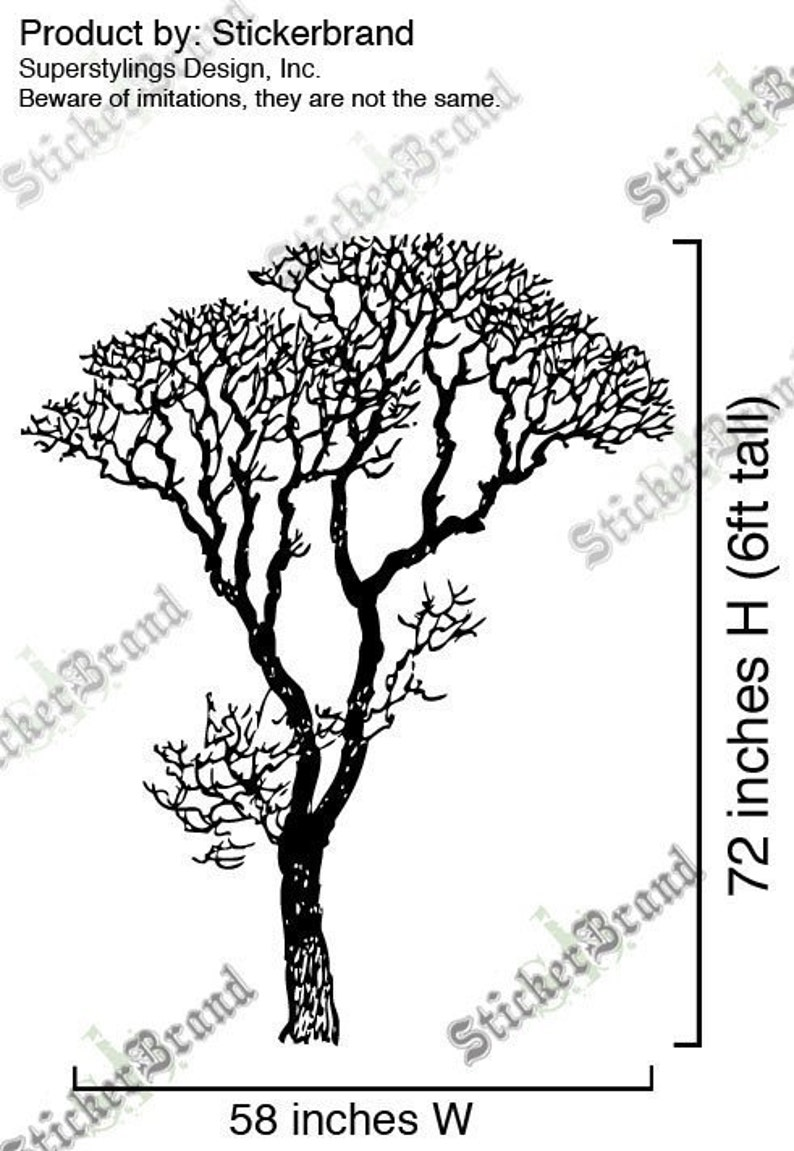 Vinyl Wall Decal Sticker Bare Tree Decoration 6 Ft Tall 240A