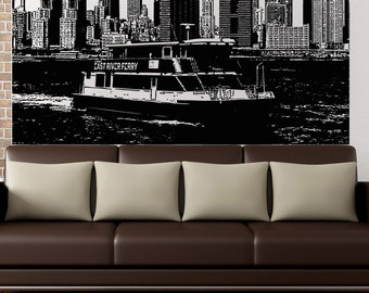 Vinyl Wall Decal Sticker NYC East River Ferry 5241s