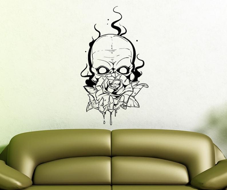 Vinyl Wall Decal Sticker Skull Holding Rose 1468s