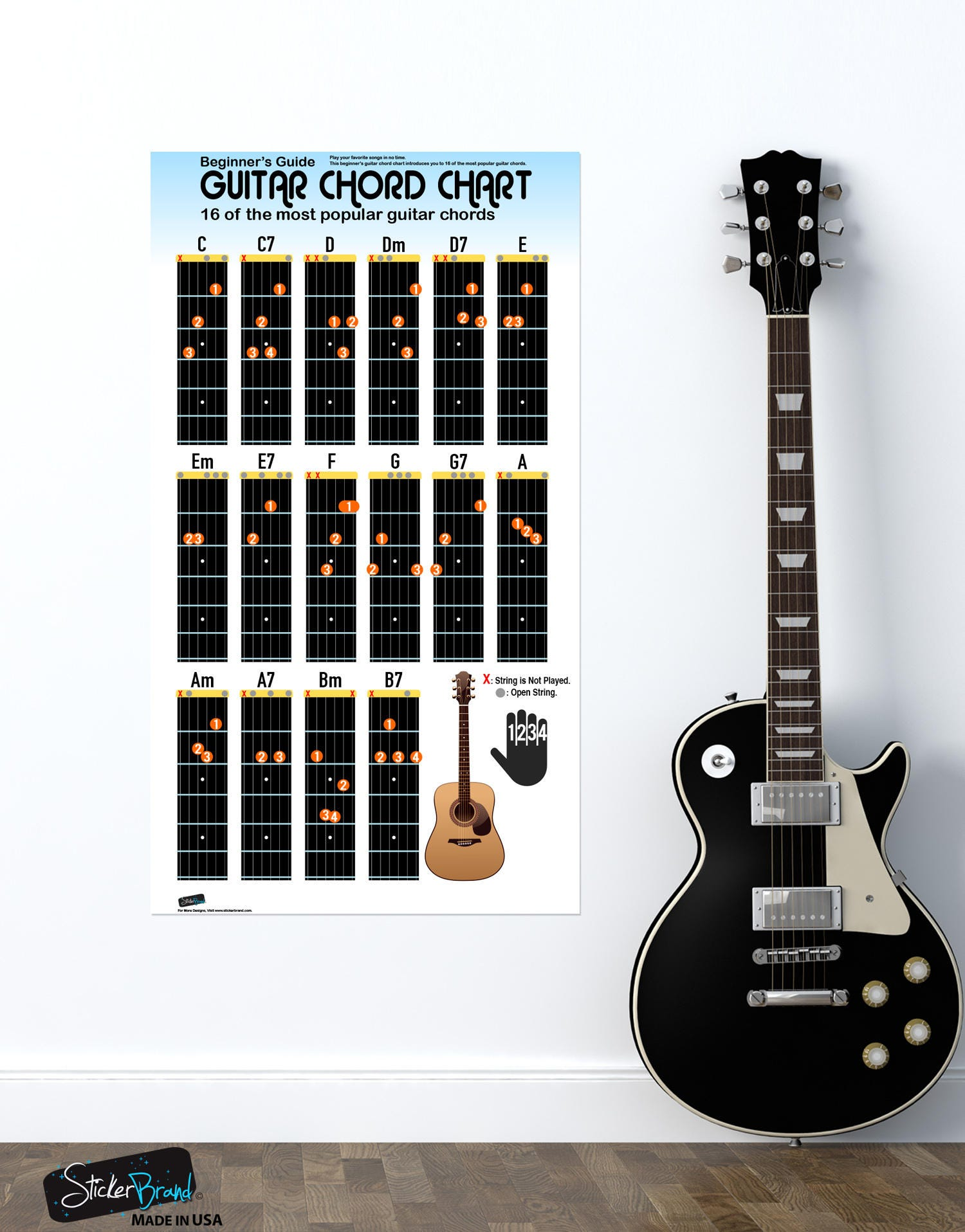 Guitar Chord Chart For Beginners 16 Popular Chords Guide Etsy