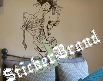 Vinyl Wall Decal Sticker Japanese Geisha w/ Fan 357s