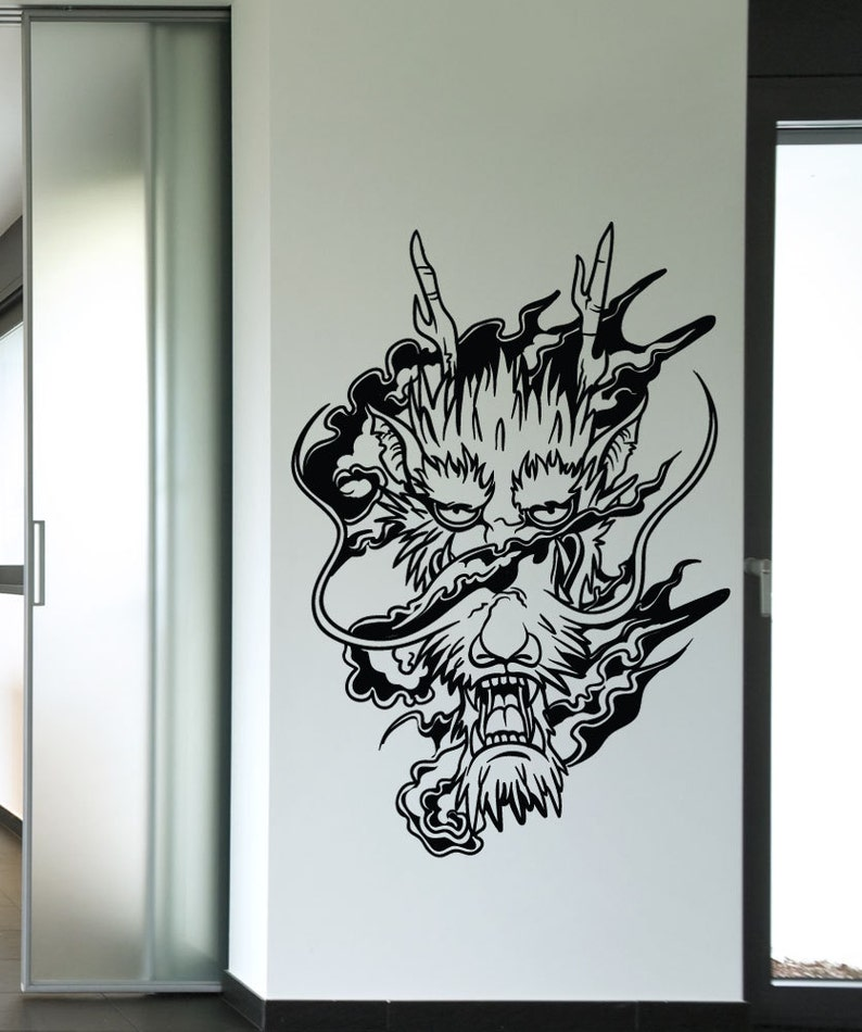 Vinyl Wall Decal Sticker Smoke Dragon Head 1444m