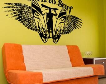 Vinyl Wall Decal Sticker Born to Surf OSAA1248m