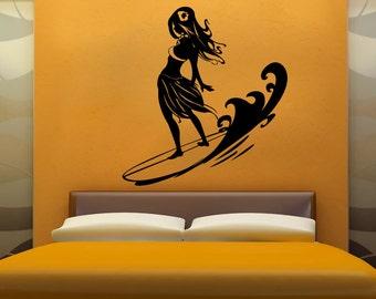 Vinyl Wall Decal Sticker Surfer Hula Girl 1280s