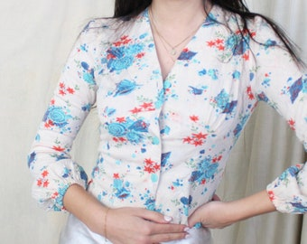 Vintage 1970s Novelty Print Top   Beach Seashell Nautical Pattern   Tie Top   70s Button Up Long Sleeve Top   R.A.R Fashion Design