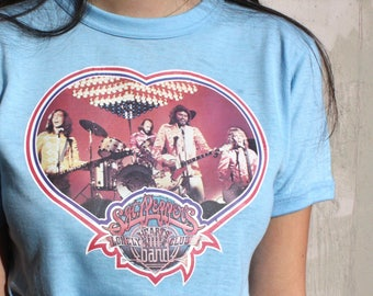 Rare Vintage 1970s Bee Gees Band T Shirt // 70s Sgt. Pepper's Lonely Hearts Club Band  // Baby Blue Tiger Tee