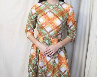 Vintage 1950s Day Dress   Lightweight Summer Dress   50s Abstract Pattern Dress   Quarter Sleeves   Teena Paige   50s Casual Dress