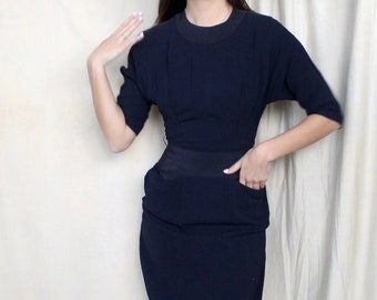 Vintage Early 1950s Crepe Dress   50s Casual Day Dress   Navy Blue Dress   Dress with Pockets   Early 50s Day Dress