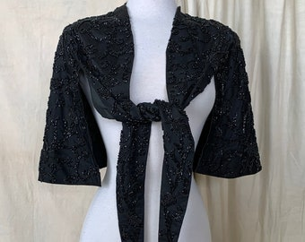 RARE Antique Victorian Gothic Cape // 1800s Black Silk Short Cape with Beaded Embroidery // Capelet