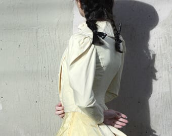 Antique Victorian Bodice Jacket // 1880s Buttermilk Yellow Corset Blouse with Pleated Bustle Back // Pigeon Bust and Puff Sleeves