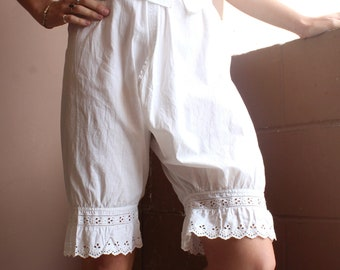 62f6c80e92a Antique Victorian Edwardian Pantaloon Bloomers    1800s 1900s White Cotton  and Eyelet Trim Lingerie Pants Drawers    Split Leg Bloomer