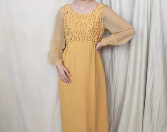 Vintage 1960s Maxi Dress   60s Floor Length Party Dress   Mesh Bishop Sleeves   Late 60s Crepe Dress   Mustard Yellow Dress   Empire Waist