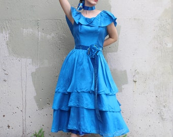 Vintage 1950s Tiered Skirt Dress   Royal Blue Party Dress   50s 60s Flounce Collar and Velvet Sash Gown   Showtime Cocktail Party Dress