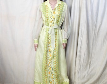 Vintage 1970s Maxi Dress   60s 70s Hand Painted Floral Dress   Tie Waist   Collared Button Down Dress   Mesh Bishop Sleeves   ALFRED SHAHEEN